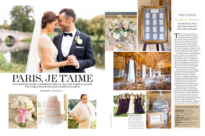 Brocket Hall Wedding in You & Your Wedding magazine photography by Anushe Low