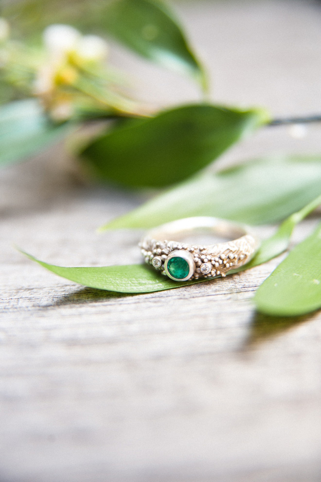 emerald engagement ring photography