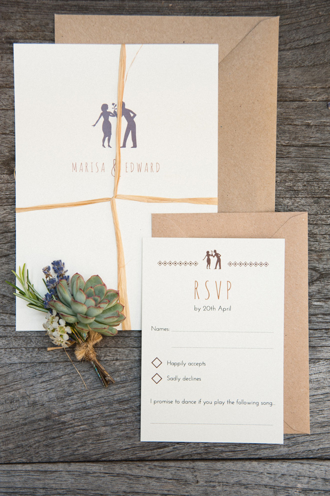 rustic wedding invitation for surrey wedding