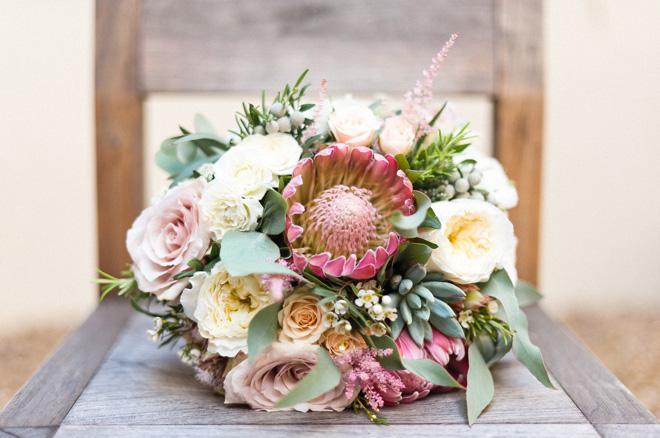 protea luxury wedding bouquet