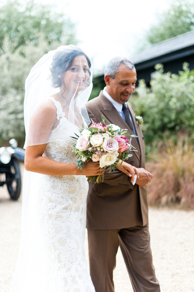 bride and father at Gate Street Barn wedding