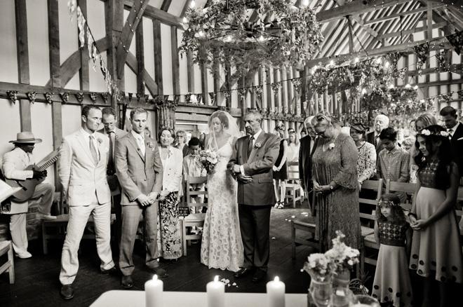 balck and white wedding ceremony photo