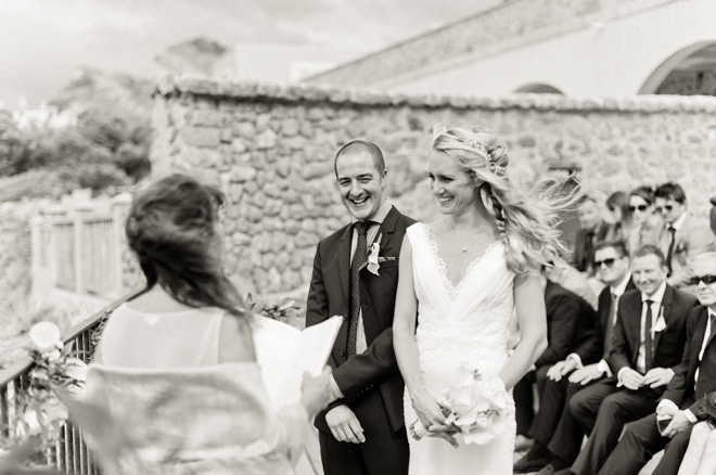 black and white destination wedding photo
