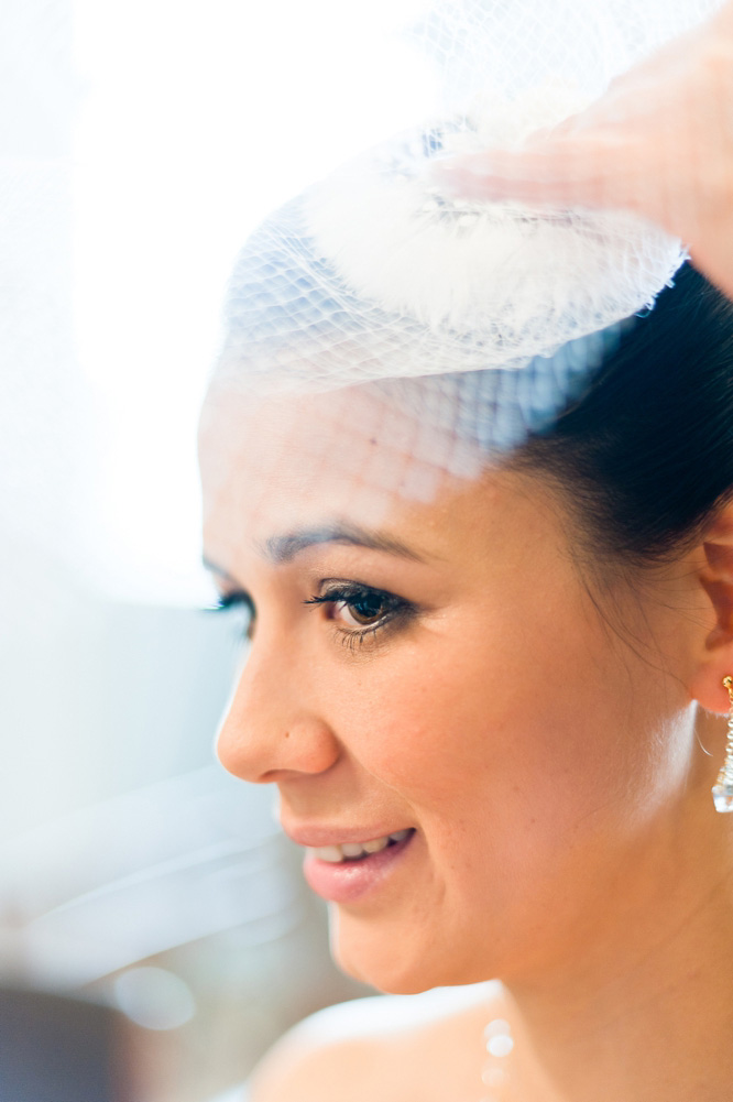 Bride wearing a vintage veil Town Hall Hotel Wedding Photographer