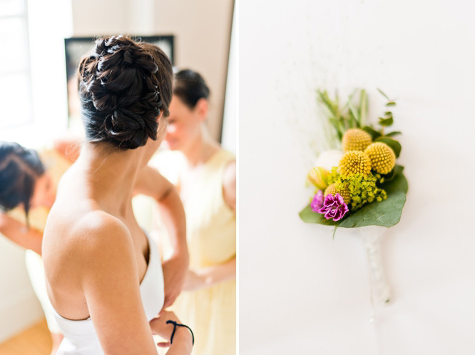 Wedding hair & cute buttonhole at Town Hall Hotel