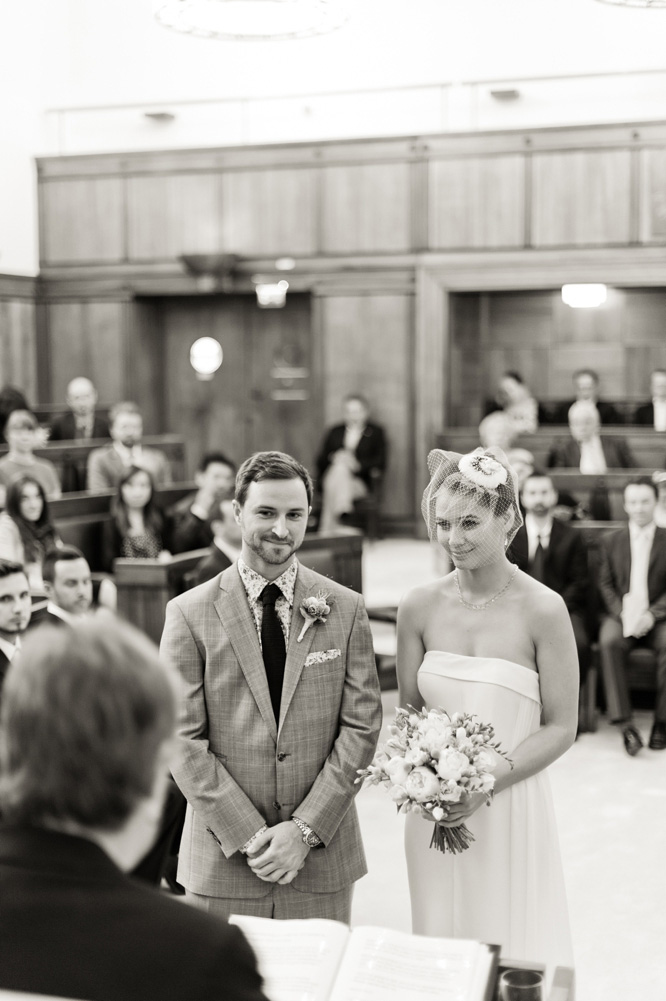 Town Hall Hotel Wedding Photographer ceremony black and white classic photo