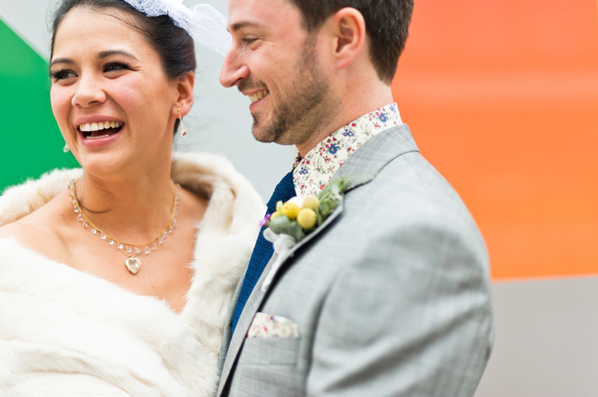 Natural bride and groom portrait in East London