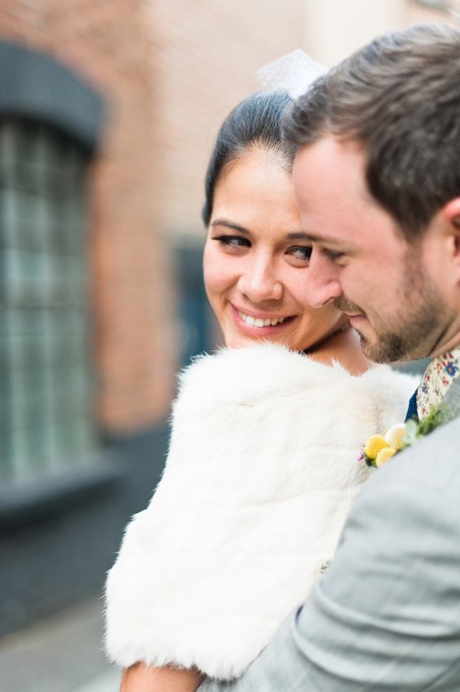 bride in vintage fur stole