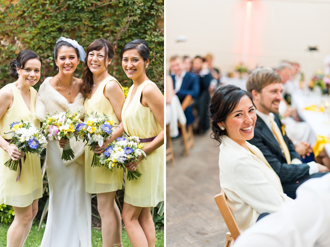 Bridesmaids in yellow knee-length dresses