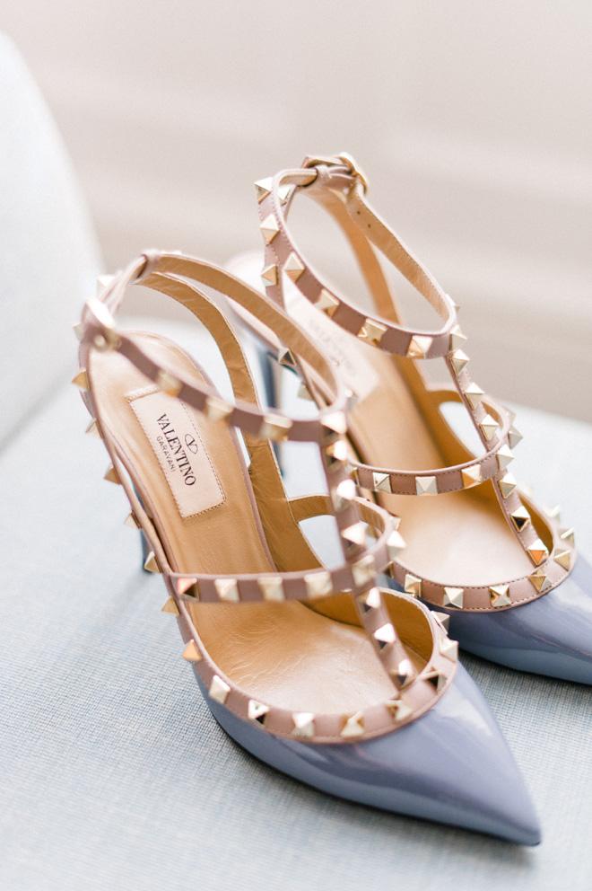 valentino rock stud patent blue leather heels