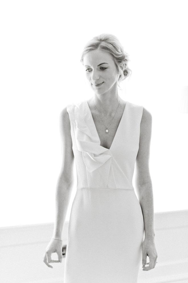 black and white portrait of victoria beckham bride