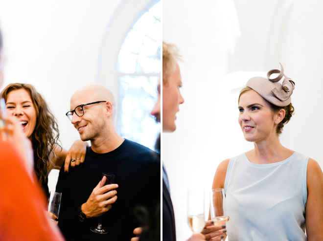 wedding guests at one marylebone drinks reception