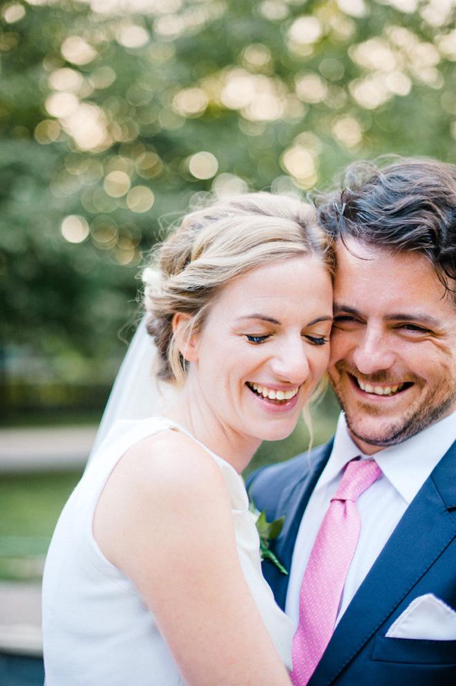 golden hour portrait of bride and groom in london wedding regents park