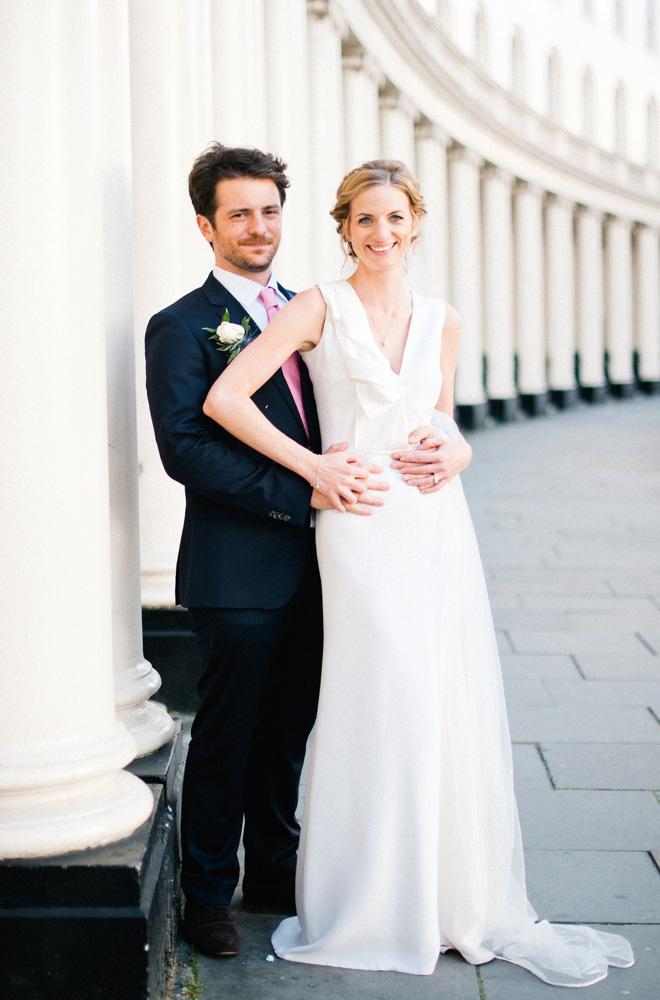 city wedding photo of bride and groom london