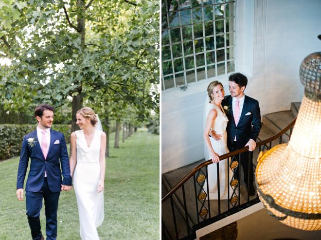 bride and groom under one marylebone chandelier