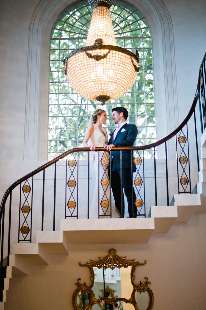 portrait of newlyweds at one marylebone wedding london