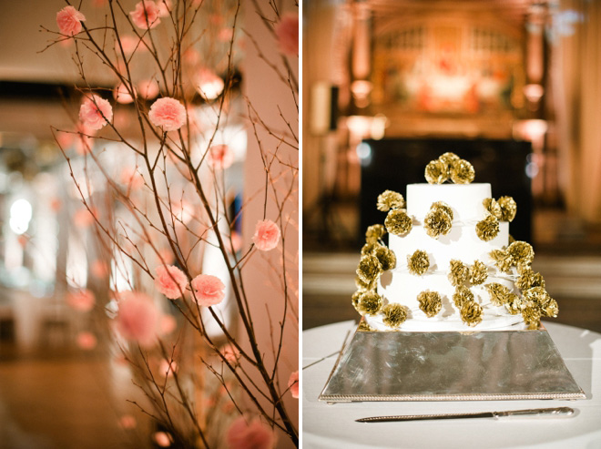 pom poms trees and cake at london wedding
