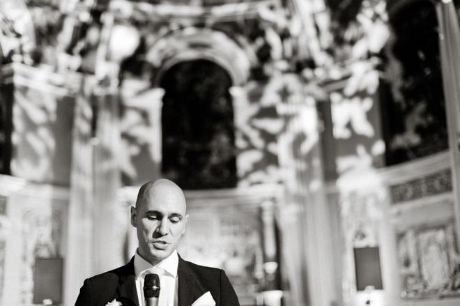 black and white photo of best man's speech at one marylebone wedding