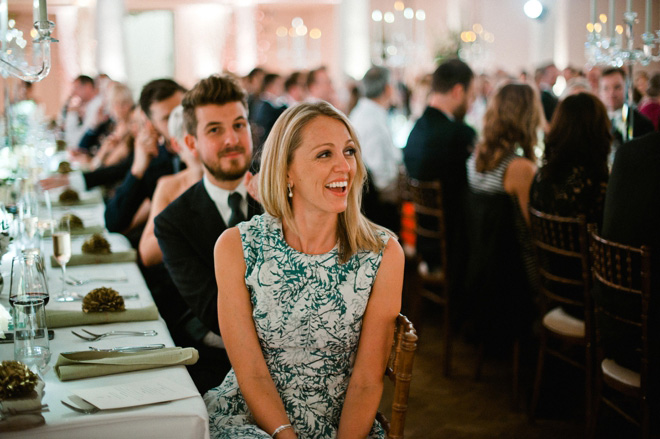 laughing lady guest at one marylebone wedding